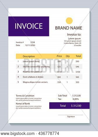 Invoice Form Design Template. Yellow And Violet Color Scheme. Educational Services.