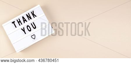Creative Top View Flat Lay Lightbox With The Text Thank You. Horizontal Long Banner For Web Design W