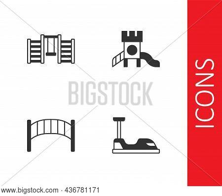 Set Bumper Car, Swedish Wall, Playground Kids Bridge And Slide Playground Icon. Vector
