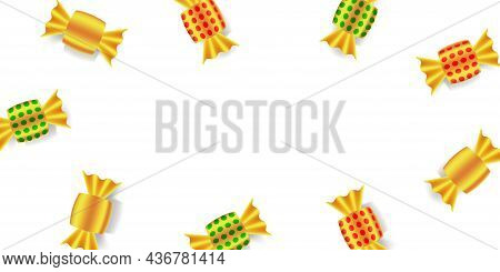 Sweets In Golden Wrappers. Gold Foiled Candies. Top View Of Candy Frame On White Background