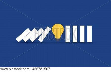 Light Bulb Stopping Domino Effect, Risk Management, Concept Inspiration Business
