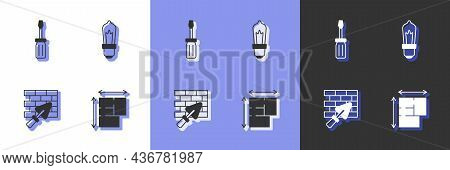 Set House Plan, Screwdriver, Brick Wall With Trowel And Light Bulb Icon. Vector