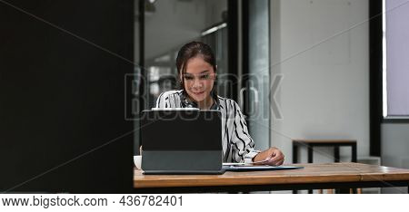 Young Asian Teacher Giving Online Lessons Video Conference Calling On Digital Tablet Talk By Webcam
