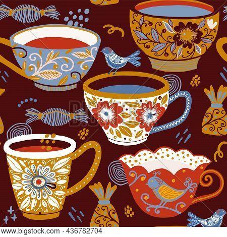 Tea Mug Vector Texture Pattern. Teatime Seamless Pattern.