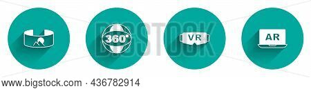 Set 360 Degree View, Virtual Reality Glasses And Augmented Ar Icon With Long Shadow. Vector