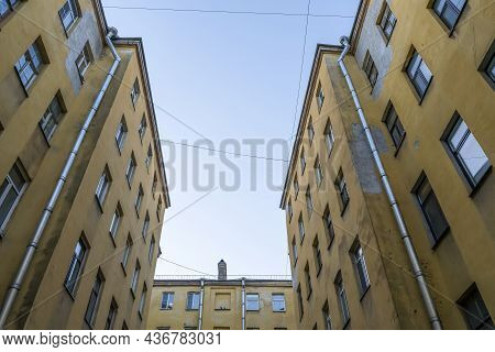 Courtyards Of St. Petersburg. Old Historic Courtyards Of St. Petersburg. Typical And Classic Urban A