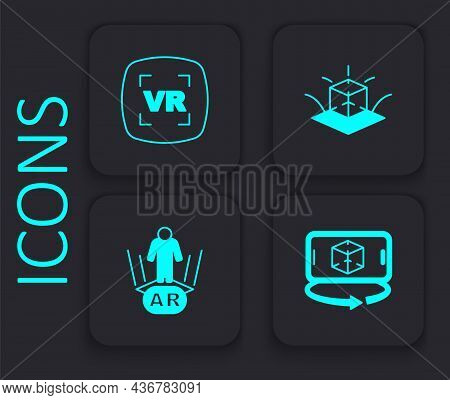 Set 3d Modeling, Virtual Reality, And Augmented Ar Icon. Black Square Button. Vector