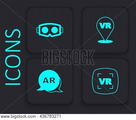 Set Virtual Reality, Glasses, And Augmented Ar Icon. Black Square Button. Vector