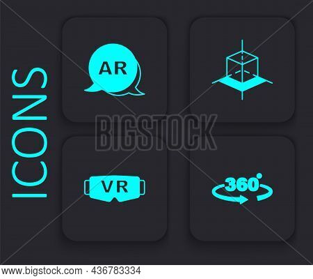 Set 360 Degree View, Augmented Reality Ar, 3d Modeling And Virtual Glasses Icon. Black Square Button