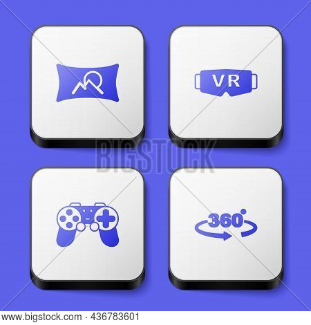 Set Wide Angle Picture, Virtual Reality Glasses, Gamepad And 360 Degree View Icon. White Square Butt