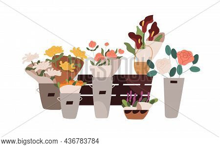 Fresh Blooming Flowers, Floral Plants And Bouquets Composition. Cut Blossomed Flora In Buckets, Pots