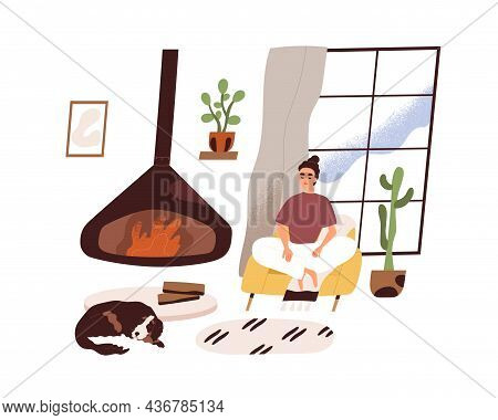 Woman Relaxing And Meditating In Modern Cozy Living Room At Home, Sitting In Comfortable Armchair By
