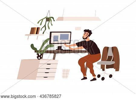 Happy Person Doing Physical Exercises, Squats At Workplace. Employee At Active Healthy Break, Body W