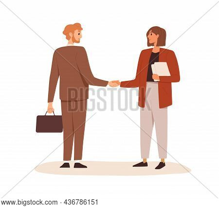 Business Partners Shaking Hands. Handshake Of Man And Woman Making Deal, Coming To Agreement And Con
