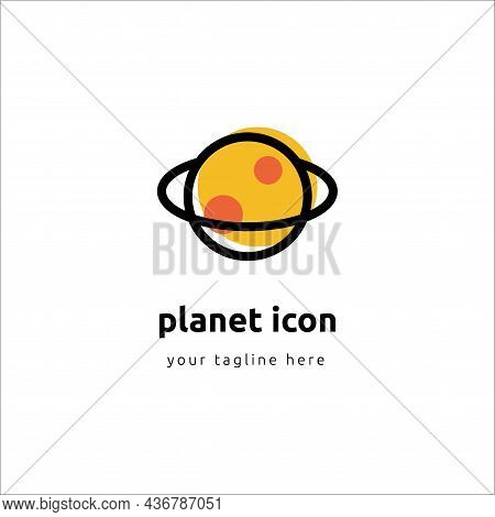 Planets Linear Icons Isolated Universe Concept On White Background