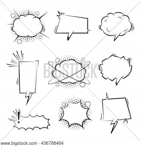 Collection Set Of Blank Pop Art Half Tone Polka Dot Speech Bubble Balloon, Think, Speak, Talk, Text