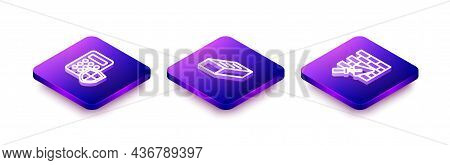 Set Isometric Line Security Keypad Access Panel, Brick And Wall With Trowel Icon. Vector