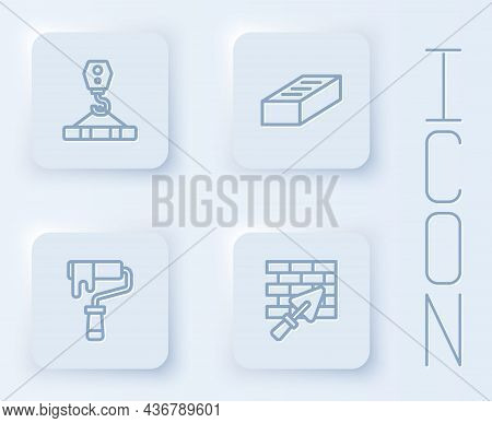 Set Line Crane Hook, Brick, Paint Roller Brush And Wall With Trowel. White Square Button. Vector
