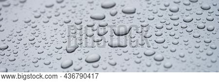 Raindrops On Glass Car For Texture And Background