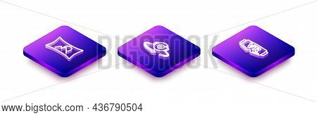 Set Isometric Line Wide Angle Picture, 360 Degree View And Virtual Reality Glasses Icon. Vector