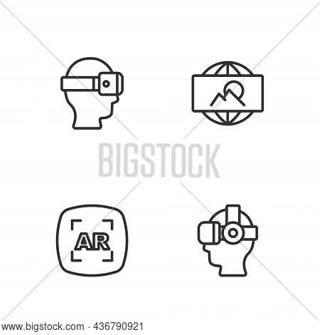 Set Line Virtual Reality Glasses, Augmented Ar, And Wide Angle Picture Icon. Vector