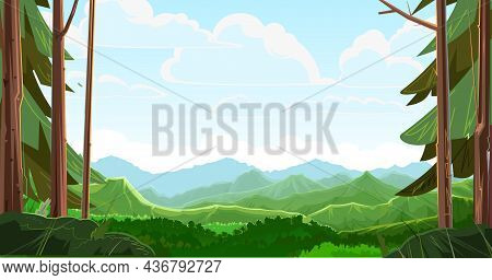 Mountains Scorn In The Forest Away. View From The Coniferous Forest. Beautiful Summer Landscape With