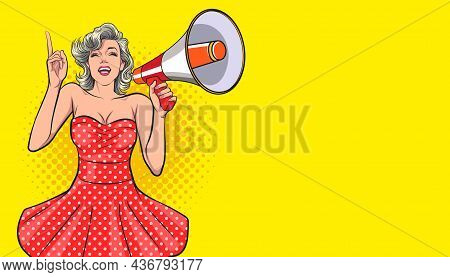 Sexy Woman Holding Megaphone And Speaking  Pop Art Comic Style