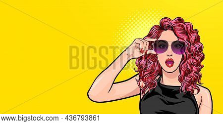 Woman Surprised In Glasses Look Wow Somthing  Pop Art Style  Pop Art Comics Style.