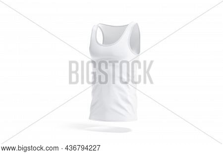 Blank White Tank Top Mock Up, Side View, 3d Rendering. Empty Textile Singlet Or Waistcoat T Shirt Mo
