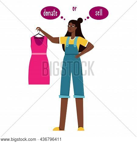A Young Black Girl Is Holding A Pink Dress In Her Hands And Is Thinking Of Donating It Or Selling It