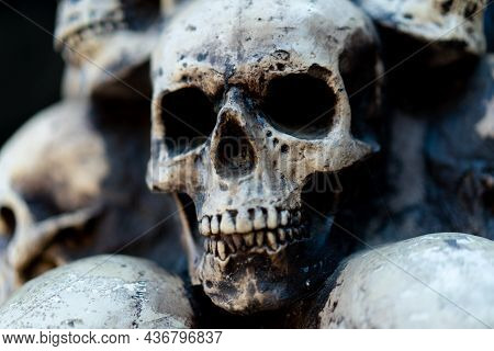 Skull Halloween Background Many People Skulls Stand On Top Of Each Other. Mystic Creepy Concept. Abs
