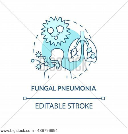 Fungal Pneumonia Blue Concept Icon. Pulmonary Inflammation Abstract Idea Thin Line Illustration. Inf