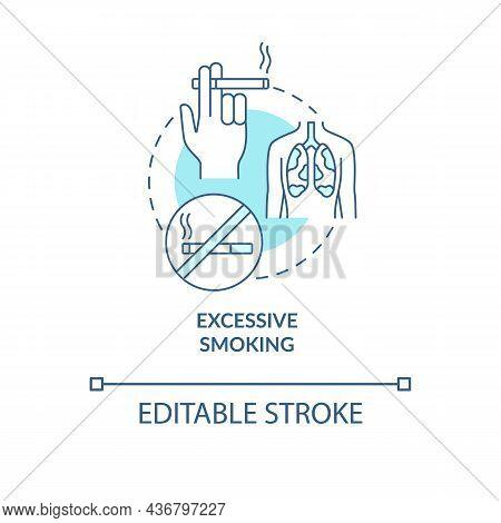 Excessive Smoking Blue Concept Icon. Pneumonia Risk Factor Abstract Idea Thin Line Illustration. Lun