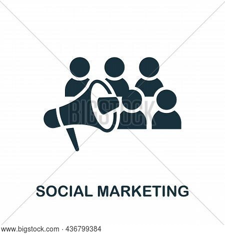 Social Marketing Icon. Monochrome Sign From Content Marketing Collection. Creative Social Marketing