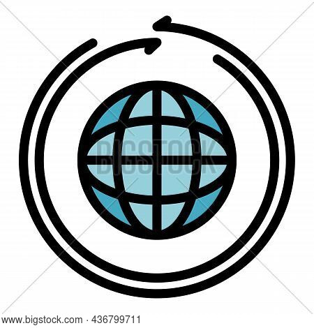 Global Franchise License Icon. Outline Global Franchise License Vector Icon Color Flat Isolated