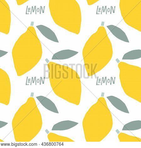 Abstract Lemon Fruit Seamless Pattern, Childish Hand Drawn Doodle Sketch Background. Citrus Fruit Wi