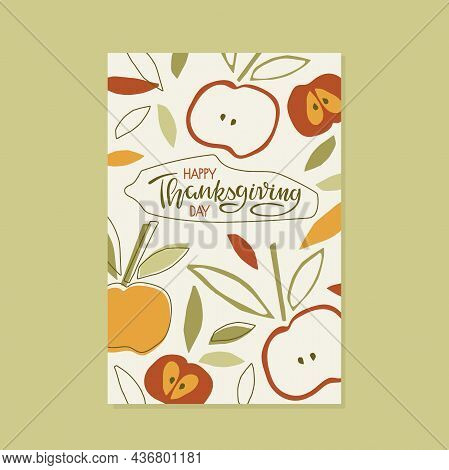 Happy Thanksgiving Day Background. Trendy Abstract Art Templates With Floral Elements. Childish Cutt