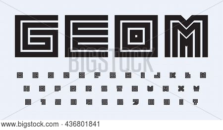 Square Geometric Alphabet, Bold Contours Square Letters And Numbers Set. Lines Road And Maze Styliza
