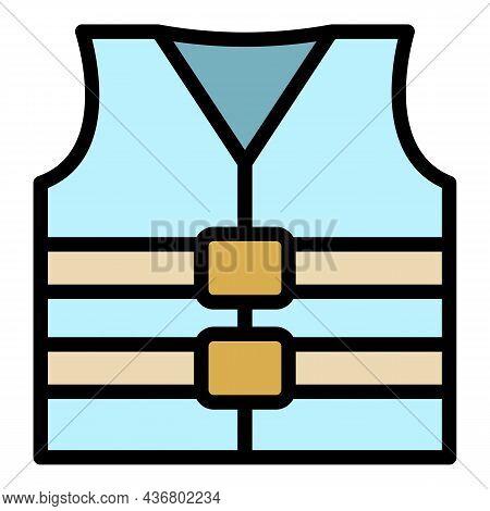 Rescue Vest Icon. Outline Rescue Vest Vector Icon Color Flat Isolated