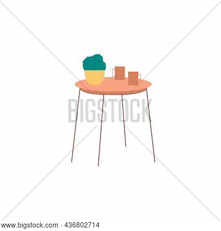 Vector Flat Cartoon Round Table With Two Cups And Home Plant Isolated On Empty Background-house Furn