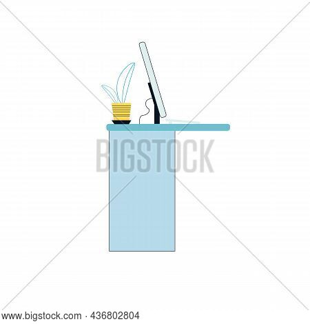 Vector Flat Cartoon Work Desk With Computer Monitor And Home Plant Isolated On Empty Background-elec