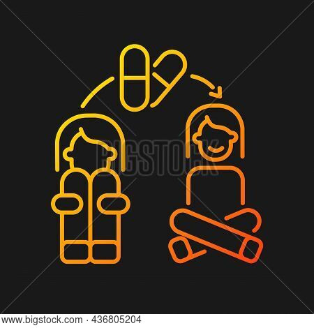 Medication For Panic Treatment Gradient Vector Icon For Dark Theme. Anti Anxiety Pills. Mental Disor
