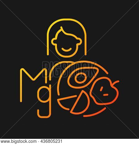 Magnesium Gradient Vector Icon For Dark Theme. Products That Content Mg. Panic Disorder Medication C