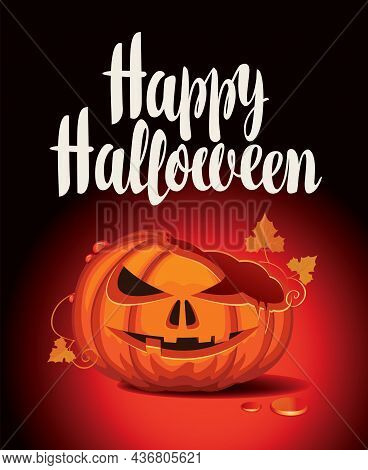 Vector Banner For Halloween Party With Broken Laughing Pumpkin And Inscription On A Black Background