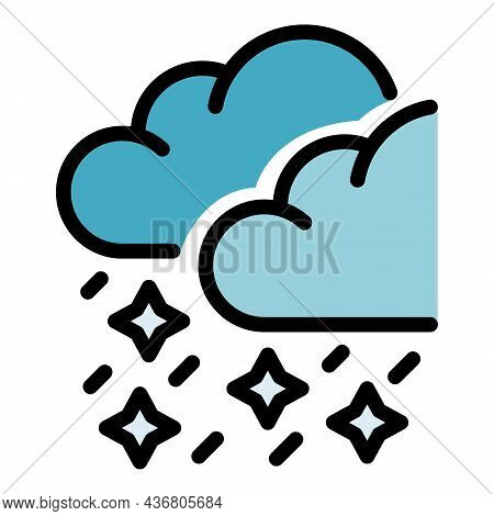 Snowflake Cloud Icon. Outline Snowflake Cloud Vector Icon Color Flat Isolated