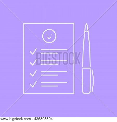 Psychologists Notebook Or Patients Diary Line Icon Concept. Sketchpad With Pen Near It Outline Strok