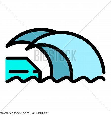 Beach Tsunami Icon. Outline Beach Tsunami Vector Icon Color Flat Isolated