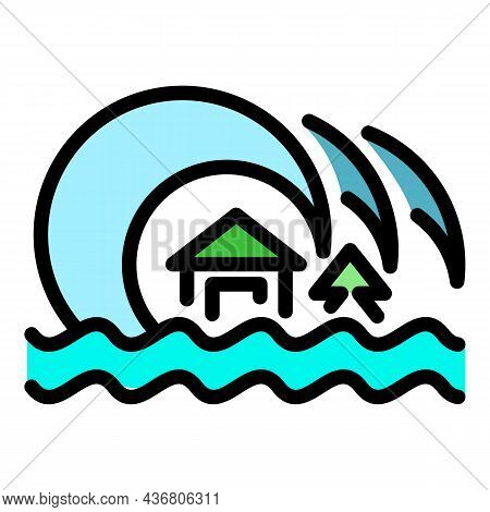 Summer Tsunami Icon. Outline Summer Tsunami Vector Icon Color Flat Isolated