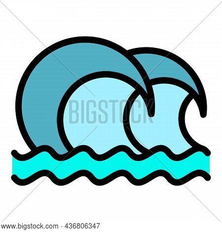 Splashing Tsunami Icon. Outline Splashing Tsunami Vector Icon Color Flat Isolated