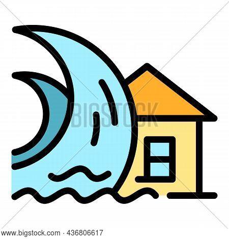 House Tsunami Icon. Outline House Tsunami Vector Icon Color Flat Isolated